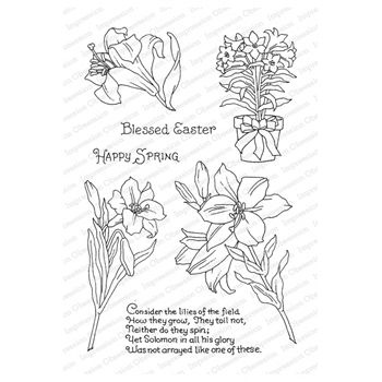 Pink Ink for Impression Obsession Clear Stamps LILIES OF THE FIELD CL292