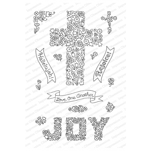 Pink Ink for Impression Obsession Clear Stamps CROSS OF FLOWERS CL928 Preview Image