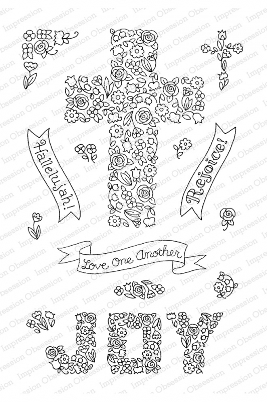Pink Ink for Impression Obsession Clear Stamps CROSS OF FLOWERS CL928 zoom image