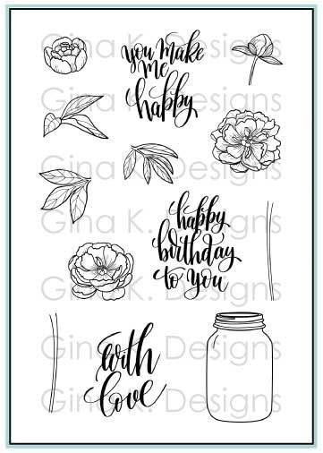 Gina K Designs YOU MAKE ME HAPPY Clear Stamps 3412 zoom image