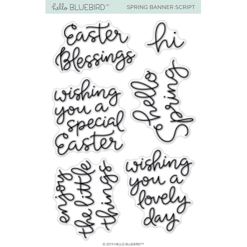 Hello Bluebird SPRING BANNER SCRIPT Clear Stamps hb2172 Preview Image
