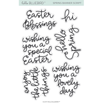 Hello Bluebird SPRING BANNER SCRIPT Clear Stamps hb2172