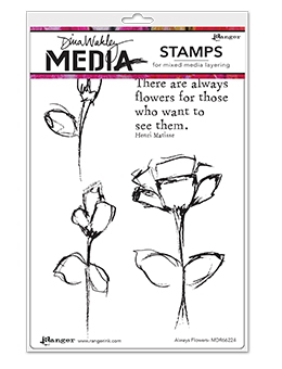 Dina Wakley ALWAYS FLOWERS Media Cling Rubber Stamp MDR66224 zoom image