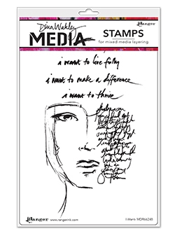 Dina Wakley I WANT Media Cling Rubber Stamp MDR66248