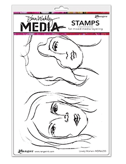 Dina Wakley LOVELY WOMEN Media Cling Rubber Stamp MDR66255 zoom image
