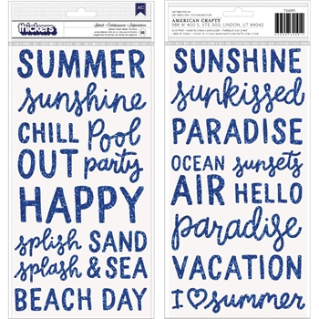 Pebbles Inc. SPLASH Glitter Foam Phrase Stickers Oh Summertime 734091