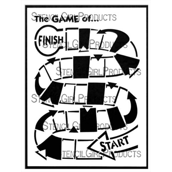 StencilGirl WINDING GAME BOARD 9x12 Stencil l707*