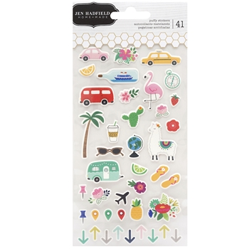 Pebbles Inc. Jen Hadfield PUFFY STICKERS Chasing Adventures 734032