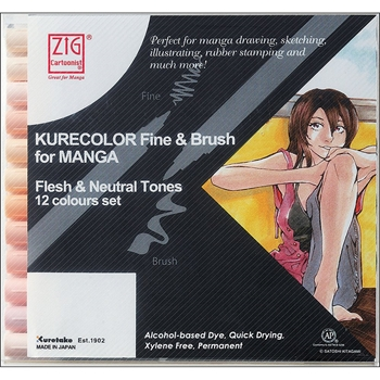 Zig FLESH AND NATURAL Cartoonist Kurecolor Fine and Brush Manga Marker Set 01833*