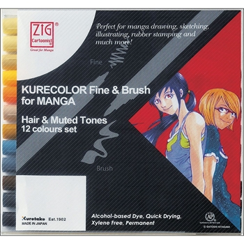 Zig HAIR AND MUTED Cartoonist Kurecolor Fine and Brush Manga Marker Set 01835*