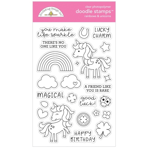 Doodlebug RAINBOWS AND UNICORNS Clear Doodle Stamps 6329 Preview Image