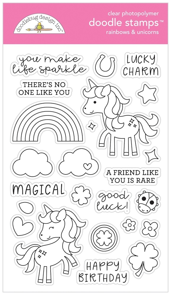 Doodlebug RAINBOWS AND UNICORNS Clear Doodle Stamps 6329 zoom image
