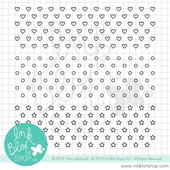 Ink Blot Shop Clear Stamp Set HEART DOT STAR BACKGROUNDS inbl058