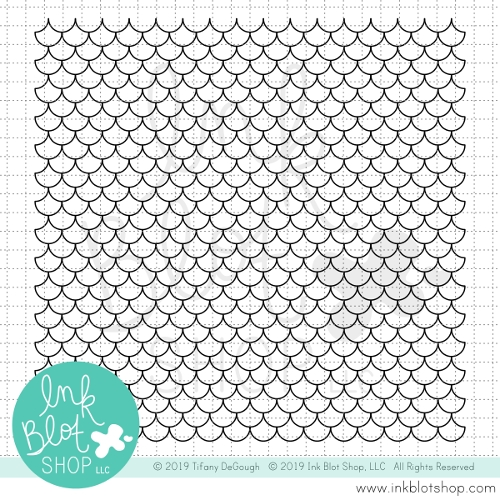 Ink Blot Shop Clear Stamp Set SCALLOPED MERMAID SCALES BACKGROUND inbl059 Preview Image