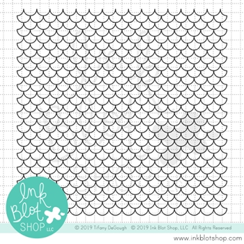 Ink Blot Shop Clear Stamp Set SCALLOPED MERMAID SCALES BACKGROUND inbl059