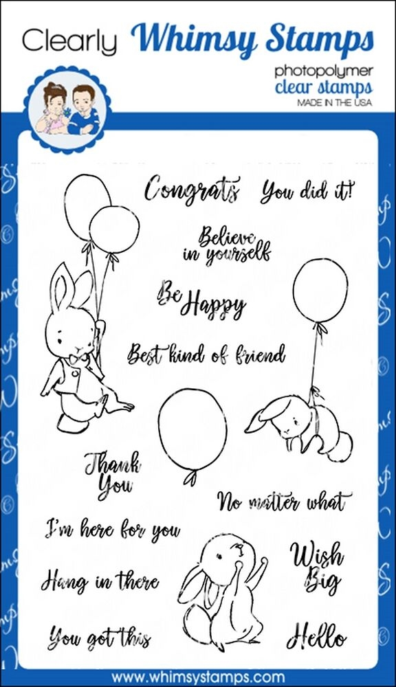 Whimsy Stamps Bunny Balloons 2 Clear stamp Set