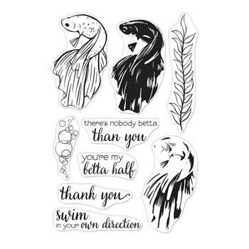 Hero Arts Clear Stamps Color Layering BETTA FISH CM343