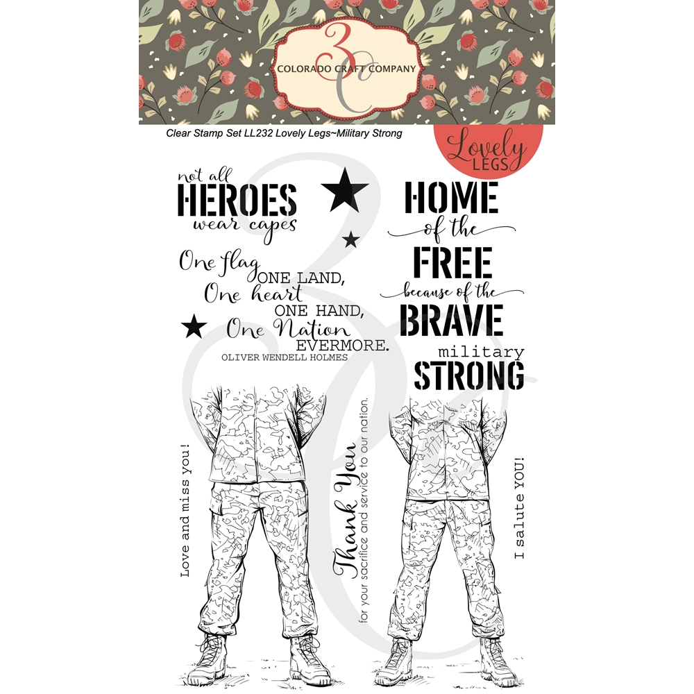 Colorado Craft Company Lovely Legs MILITARY STRONG Clear Stamps LL232 zoom image