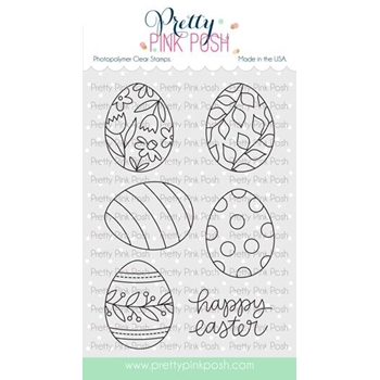 Pretty Pink Posh EASTER EGGS Clear Stamps*