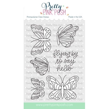Pretty Pink Posh BEAUTIFUL BUTTERFLIES Clear Stamps*