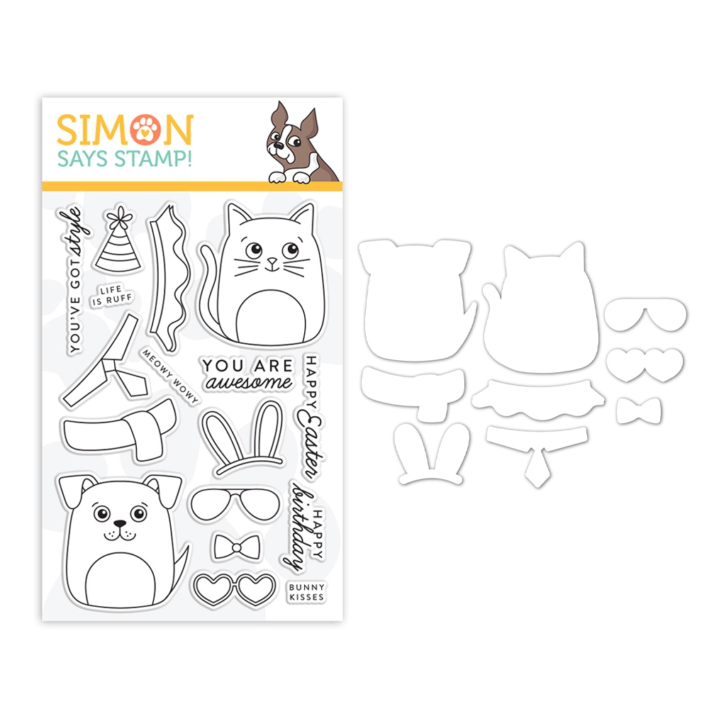 Simon Says Stamps And Dies DOG & CAT DRESS UP set0319dac Fresh Bloom zoom image