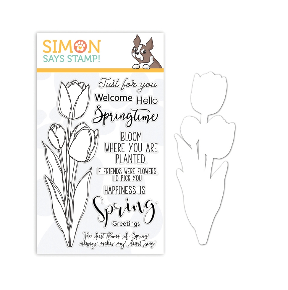 Simon Says Stamps And Dies SKETCH TULIP BOUQUET set0319st Fresh Bloom zoom image