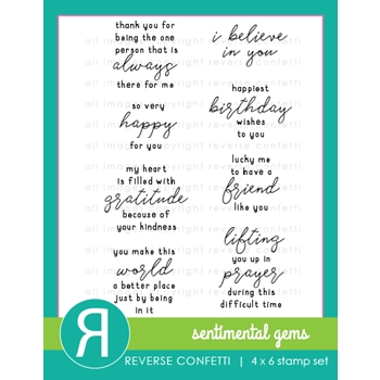Reverse Confetti SENTIMENTAL GEMS Clear Stamps