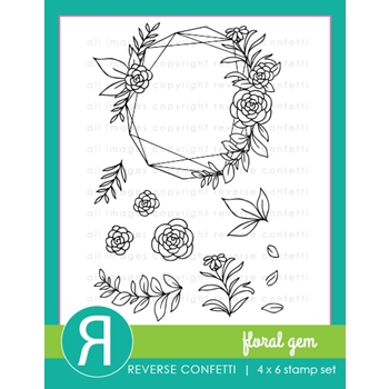 Reverse Confetti FLORAL GEMS Clear Stamps
