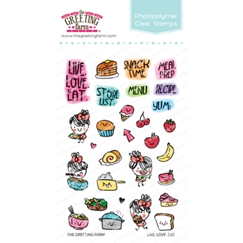 The Greeting Farm LIVE LOVE EAT Clear Stamps TGF466
