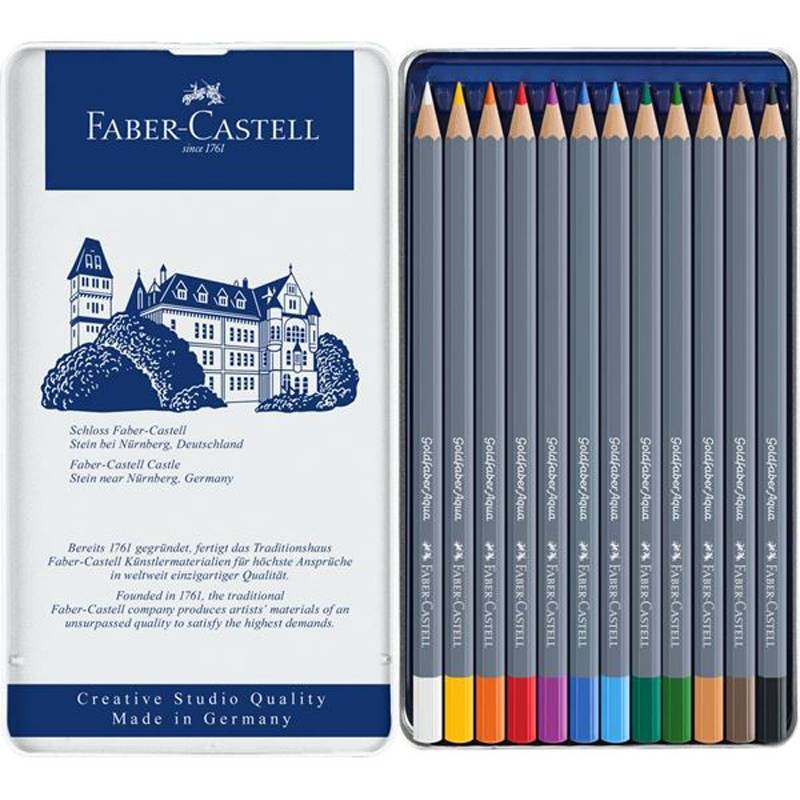Faber-Castell GOLDFABER AQUA 12 Watercolor Pencils in Tin 114612 zoom image