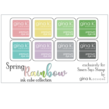 Gina K Designs SPRING RAINBOW Premium Dye Ink Cube Collection 4174