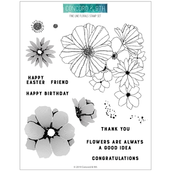 Concord & 9th FINE LINE FLORALS Clear Stamp Set 10573