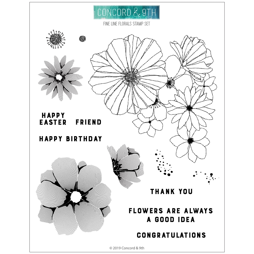 Concord & 9th FINE LINE FLORALS Clear Stamp Set 10573 zoom image