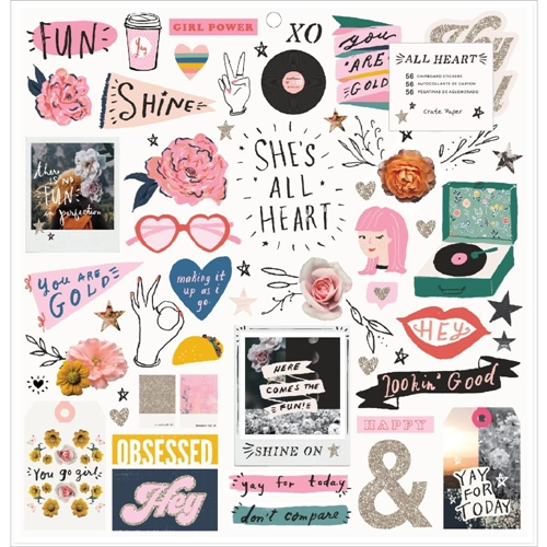 Crate Paper ALL HEART 12 x 12 Chipboard Stickers 350858 Preview Image