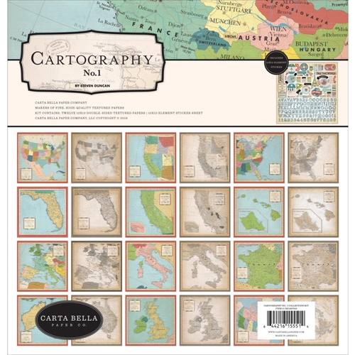 Carta Bella CARTOGRAPHY 12 x 12 Collection Kit cbca97016 Preview Image