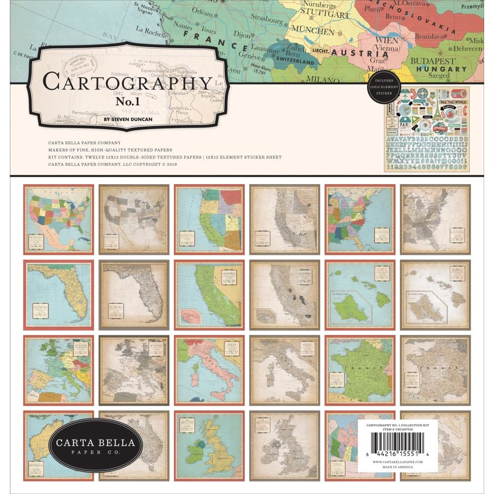 Carta Bella CARTOGRAPHY 12 x 12 Collection Kit cbca97016 zoom image
