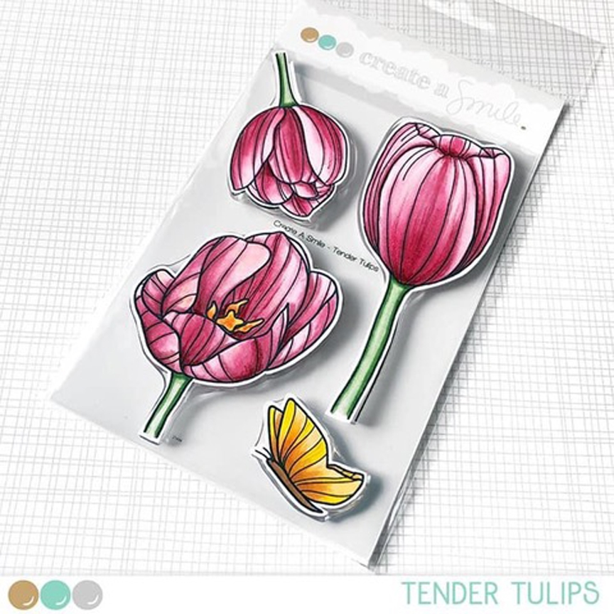 Create A Smile TENDER TULIPS Clear Stamps clcs103 zoom image