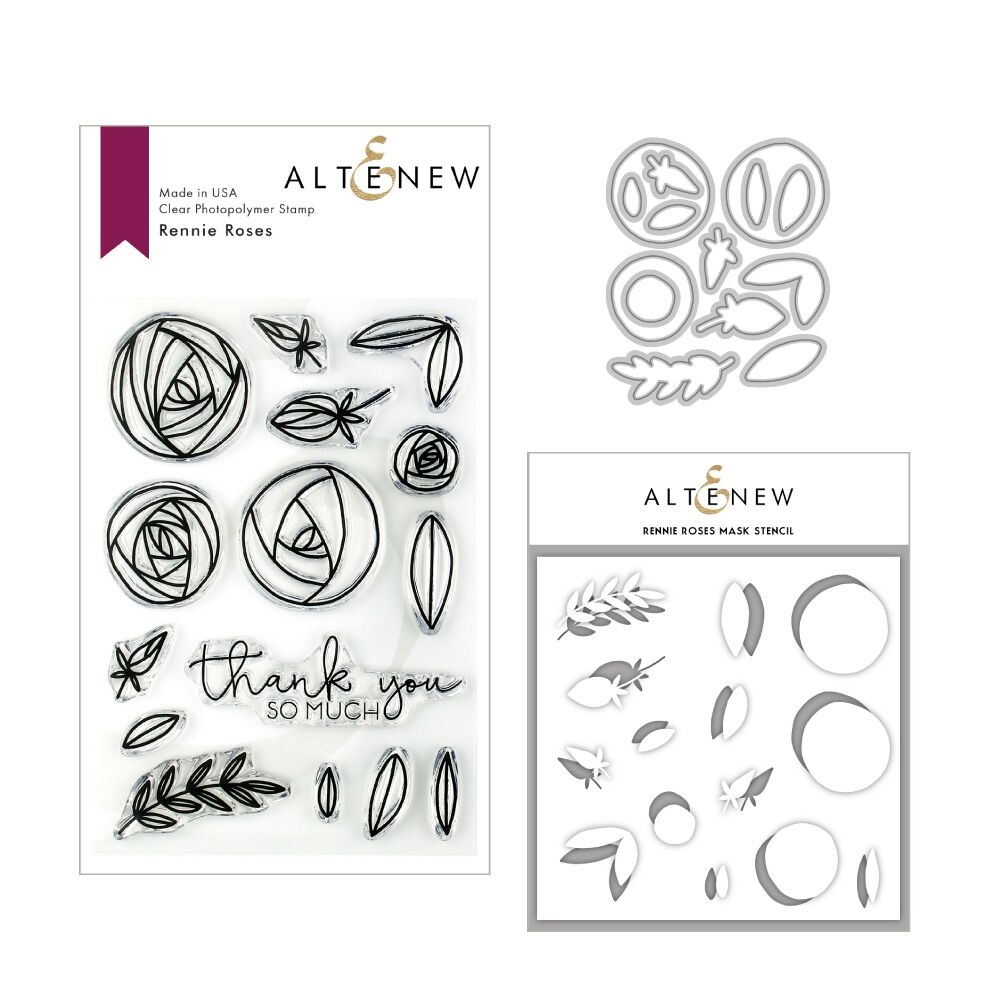 Altenew RENNIE ROSES Clear Stamp, Die and Stencil Bundle ALT3154 zoom image
