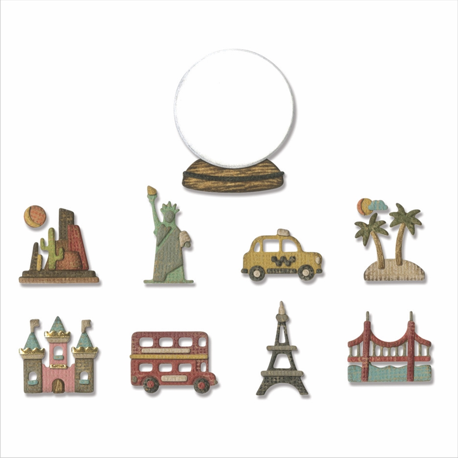 Tim Holtz Sizzix TINY TRAVEL GLOBE Thinlits Dies 664182 zoom image