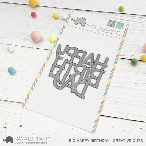 Mama Elephant BIG HAPPY BIRTHDAY Creative Cuts Steel Die Preview Image