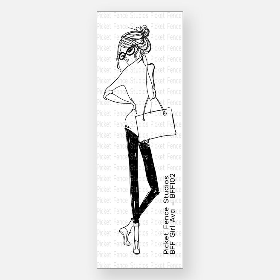 Picket Fence Studios BFF GIRL AVA Clear Stamp bff102 zoom image