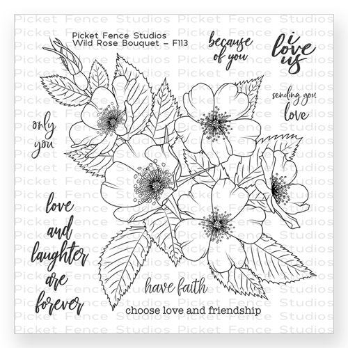 Picket Fence Studios WILD ROSE BOUQUET Clear Stamp Set f113 Preview Image