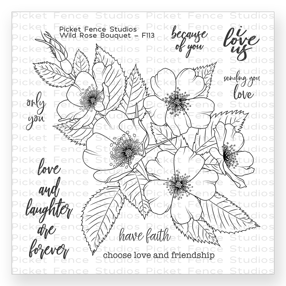 Picket Fence Studios WILD ROSE BOUQUET Clear Stamp Set f113 zoom image