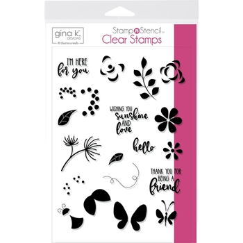 Therm O Web Gina K Designs PETALS AND WINGS Clear Stamps 18127