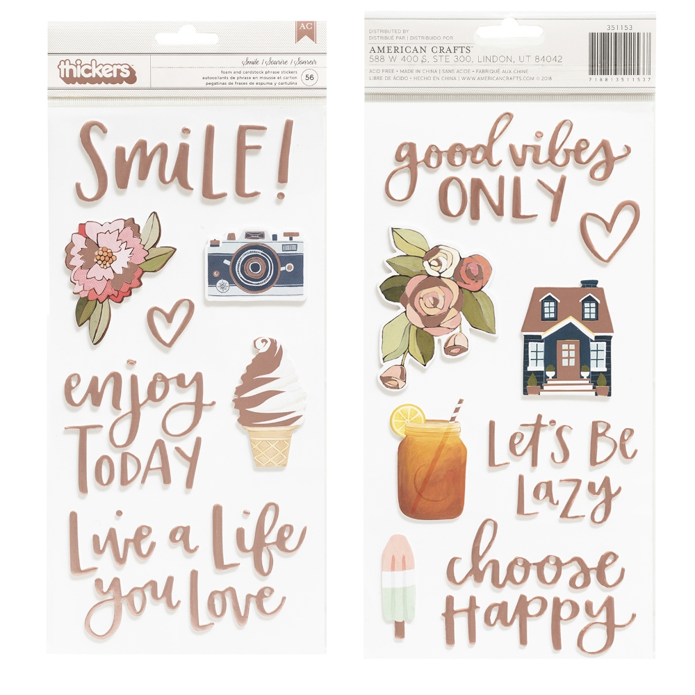 American Crafts 1canoe2 SATURDAY AFTERNOON SMILE Foam and Cardstock Phrase Stickers 351153 zoom image