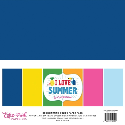 Echo Park I LOVE SUMMER 12 x 12 Double Sided Solids Paper Pack su178015 Preview Image