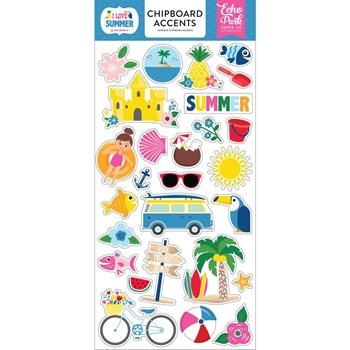 Echo Park I LOVE SUMMER Chipboard Accents su178021*