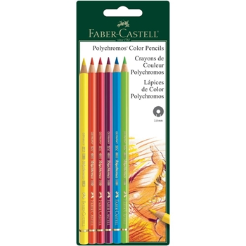 Faber-Castell POLYCHROMOS COLORED PENCILS 6 Piece Set 800135t