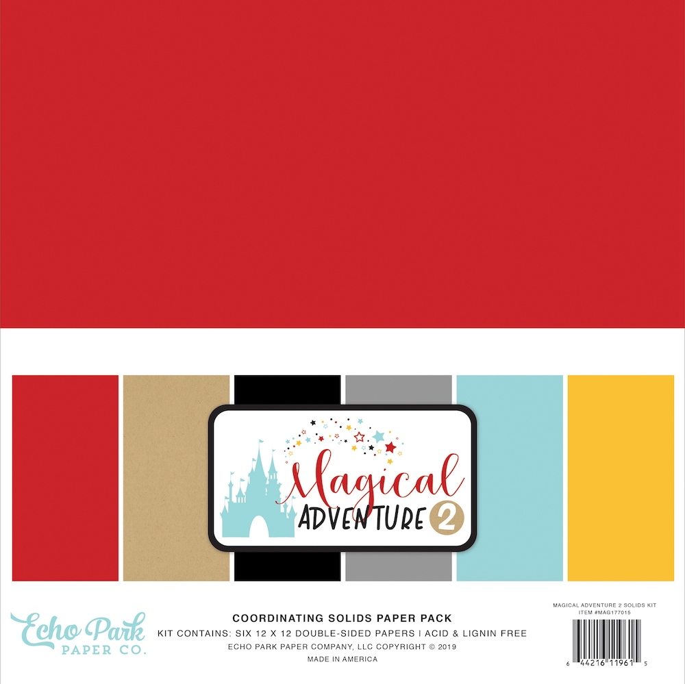 Echo Park MAGICAL ADVENTURE 2 12 x 12 Double Sided Solids Paper Pack mag177015 zoom image