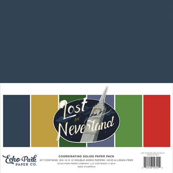 Echo Park LOST IN NEVERLAND 12 x 12 Double Sided Solids Paper Pack lin179015*